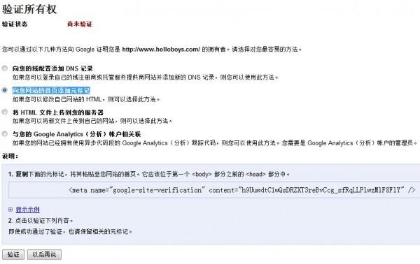 使用Meta验证magento网站所有权
