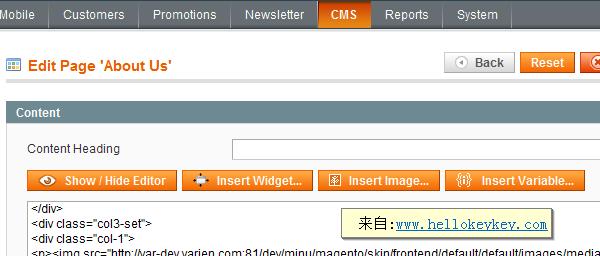 magento后台cms模板标签使用
