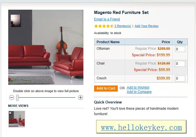 magento组商品显示商品属性表格