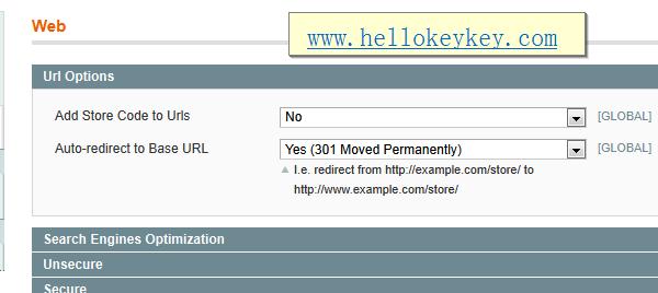 Magento网址www的设置
