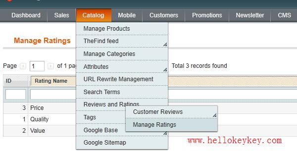 magento商品评论等级星星设置(manage rating)