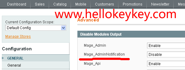 magento禁用notification
