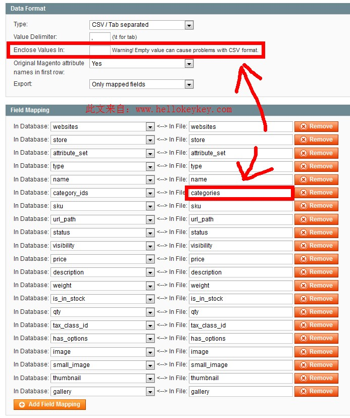 Magento Export field mapping